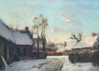 C1743, David Schulman, Winter in Laren, olie op doek, te koop bij Galerie Wijdemere Breukeleveen