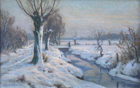 C4908 (C3657W), J. Meijer, Winter, o.d., 41x61, lijst 51x71, l.o. geisgneerd, te koop bij galerie Wijdemeren