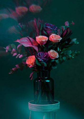 Te koop bij Galerie Wijdemeren, C5010-3, Wytske van Urk, bloemstilleven groen, 60 x 85 cm