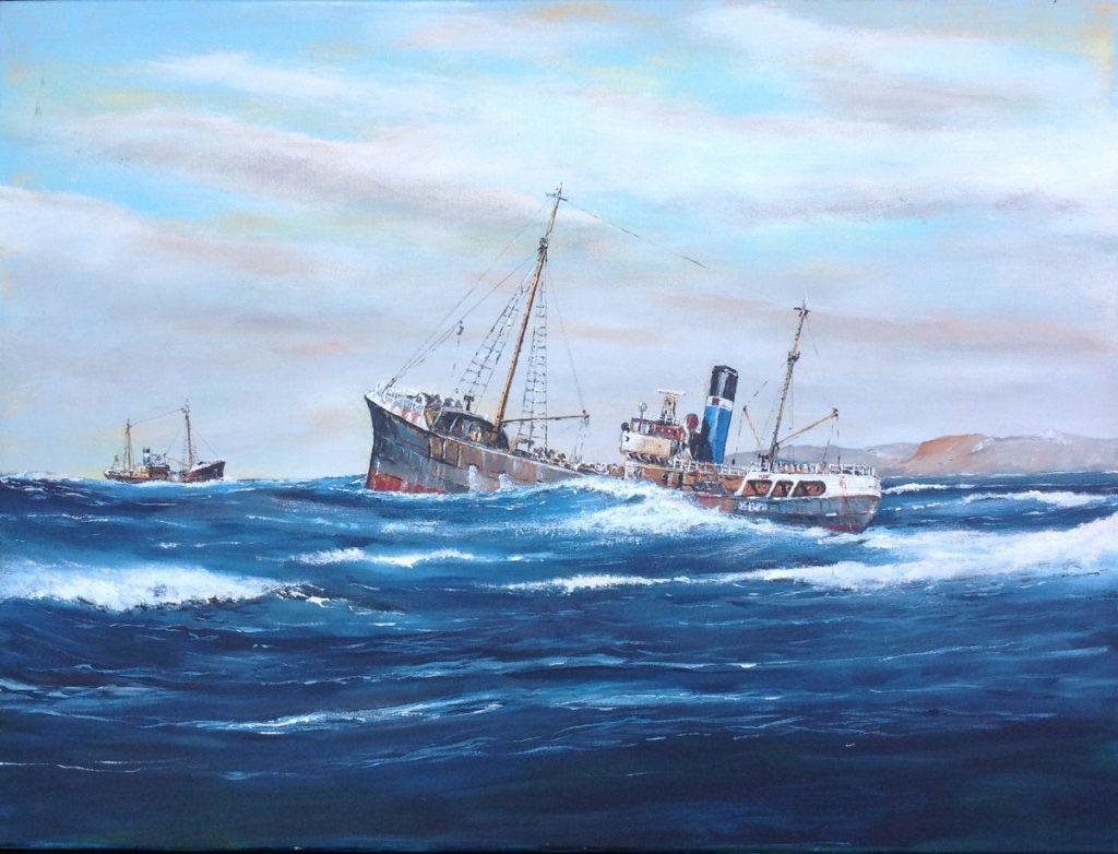 Schilderijen te koop van kunstschilder Beert Hennephof Grimsby Trawlers at sea olie op doek, 60 x 80 cm., Expositie Galerie Wijdemeren Breukeleveen