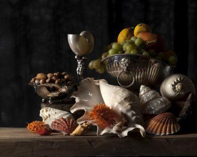 Kunstenaar Adri Verburg 10.090, Adri Verburg, Stilleven met Schelpen opl. 5 ex. , 40 x 50 cm