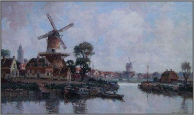 Schilderijen te koop van kunstschilder G.J. Delfgaauw Dorpje aan een vaart olie op doek, doekmaat 60 x 100 cm rechtsonder gesigneerd, Expositie Galerie Wijdemeren Breukeleveen