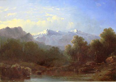 Kunstenaar Gerard Bilders 1180, Gerard Bilders Romantisch berglandschap met beekje Olieverf op paneel, 35 x 49 cm r.o. gesigneerd verkocht