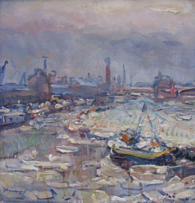 "Kunstenaar Jan Hendrik Grauenkamp 1204, J.H. Grauenkamp ""Winter Binckhorsthaven, Den Haag"" olie op doek, 45,5 x 42 cm gesign. l.o. J.H. Grauenkamp particuliere collectie"