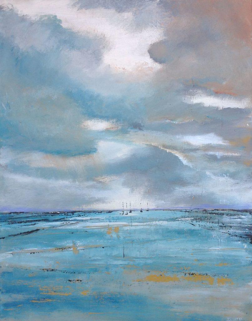 Schilderijen te koop van kunstschilder Beert Hennephof Awaiting highwater olie op doek, 80 x 60 cm., Expositie Galerie Wijdemeren Breukeleveen