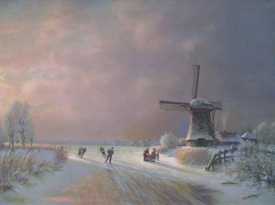 Schilderijen te koop van kunstschilder J.L. van Meide IJsgezicht, Molenvaart olie op doek, gesigneerd, Expositie Galerie Wijdemeren Breukeleveen