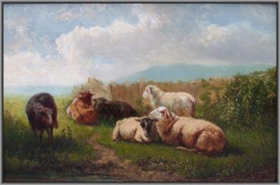 Kunstenaar Johannes Hubertus Leonardus de Haas 1446, J.H.L. de Haas landschap met geiten en schapen olie op paneel, 15,6 x 23,4 cm gesigneerd r.o.