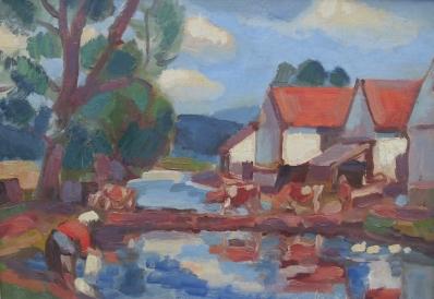 Kunstenaar Maravitz 1713, T. Maravitz Huisjes aan de vaart, 1964 Olieverf op doek