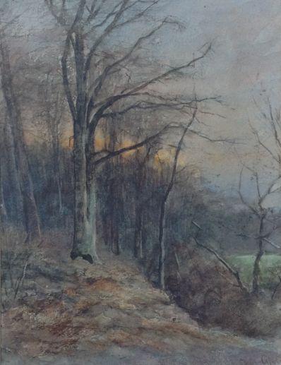 Kunstenaar Louis Apol 1807 Louis Apol aquarel, beeldmaat 21,5 x 16,5 cm bospaadje verkocht