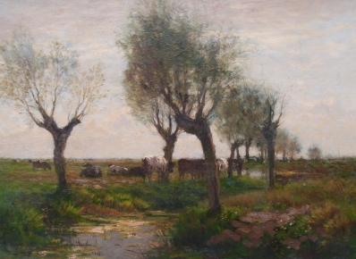 schilderijen te koop van kunstschilder, Jos Leurs Koeien in landschap olieverf op doek, doekmaat 60 x 80 cm, expositie, galerie wijdemeren breukeleveen