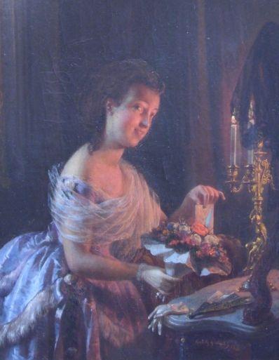 Kunstenaar Moritz Calisch 1825, Moritz Calisch Elegante dame bij kaarslicht olie op paneel, Beeldmaat: 34,5 x 27,5 cm verkocht