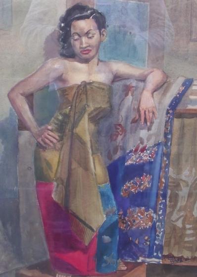 Schilderijen te koop van kunstschilder Frans Funke Küpper portret Javaanse dame aquarel op papier, Expositie Galerie Wijdemeren Breukeleveen
