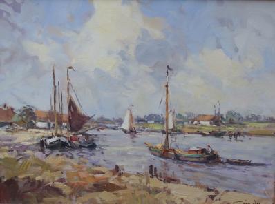 Schilderijen te koop, kunstschilder Niek van der Plas Boten op de rivier olie op paneel, 30 x 40 cm rechtsonder gesigneerd, expositie Galerie Wijdemeren Breukeleveen