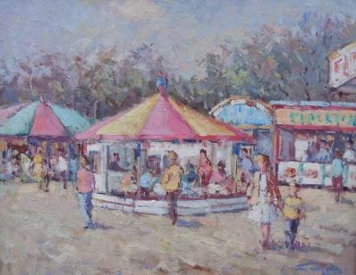 Schilderijen te koop, kunstschilder Niek van der Plas Kermis Olieverf op paneel, paneelmaat 24 x 30 cm Gesigneerd: rechtsonder, expositie Galerie Wijdemeren Breukeleveen