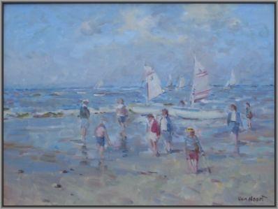 Schilderijen te koop van kunstschilder A.C. van Noort olie op paneel, paneelmaat 30 x 40 cm gesigneerd rechtsonder van noort, Expositie Galerie Wijdemeren Breukeleveen