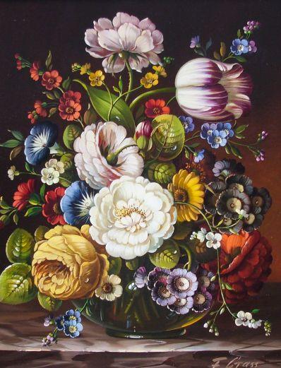 Kunstenaar Florian Grass 1915, Florian Grass bloemstilleven r.o. gesigneerd particuliere collectie was voorheen in verkoop
