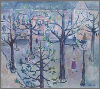 Kunstenaar Jeanne Oosting 1972, Jeanne Bieruma Oosting Stadsgezicht, Amsterdam