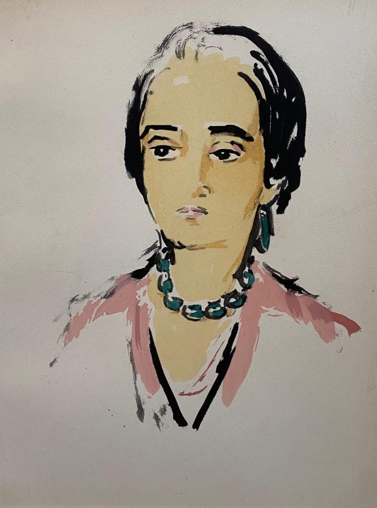 Kunst te koop bij Galerie Wijdemeren van kunstenaar Kees van Dongen Tete de Femme pochoir, 25 x 19 cm