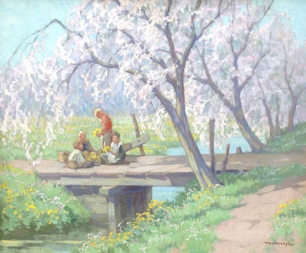 Kunst te koop bij Galerie Wijdemeren van kunstschilder Willem Noordijk Onder de bloesembomen olie op doek, 50.5 x 60.5 cm rechtsonder gesigneerd