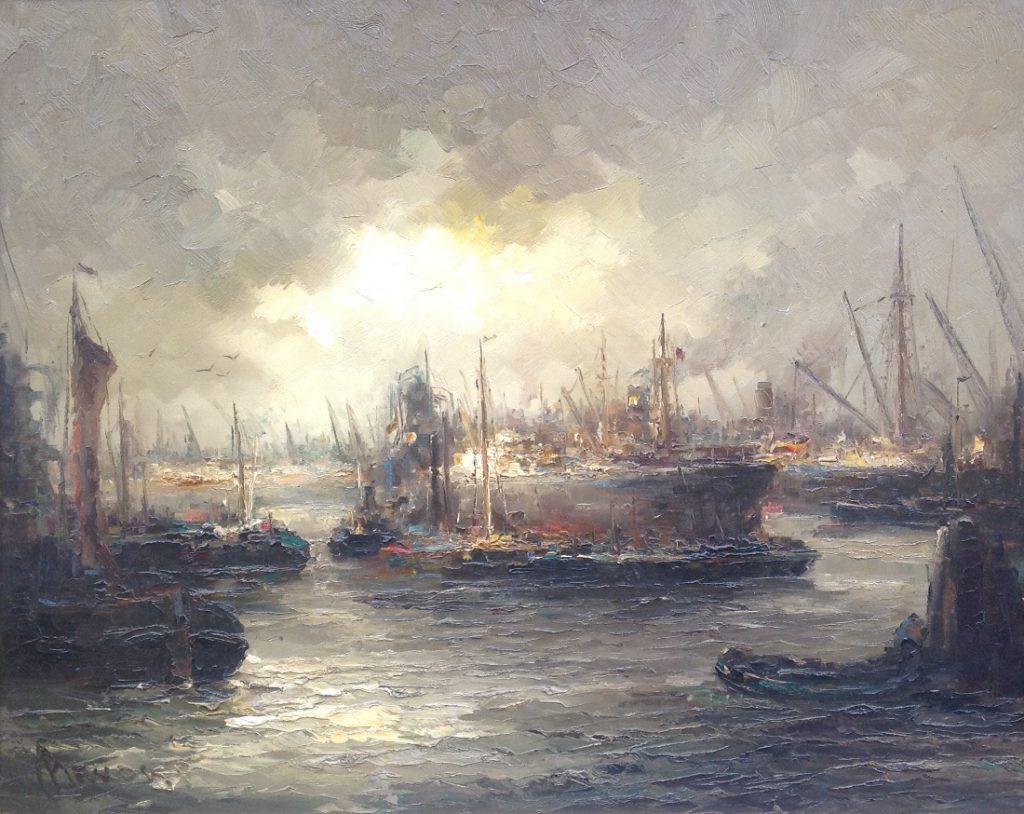 Schilderijen te koop van kunstschilderJohn Bevort Haven van Rotterdam olie op doek, 100 x 80 cm, Expositie Galerie Wijdemeren Breukeleveen