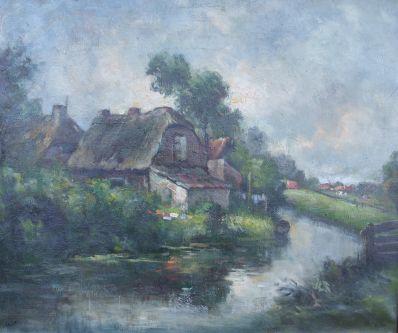 Schilderijen te koop van kunstschilder Chris Soer Boerderij aan vaart olie op doek, gesigneerd, Expositie Galerie Wijdemeren Breukeleveen