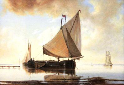 Kunstenaar William Calladine 2452 William Calladine, Zeilboten op kalme zee Olie op paneel