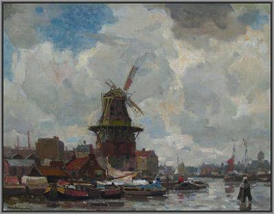 Schilderijen te koop van kunstschilder Frans A. Langeveld Overtoom Amsterdam olie op doek, gesigneerd, Expositie Galerie Wijdemeren Breukeleveen