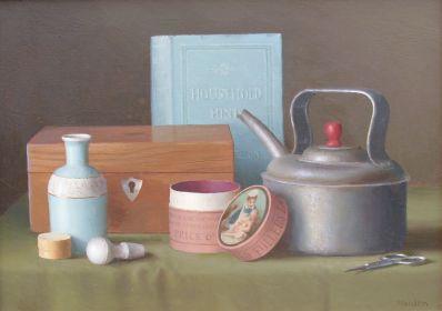 Kunstenaar Gerald Norden 2531, Gerald Norden, Stilleven met ketel olieverf op board, 25 x 35 cm