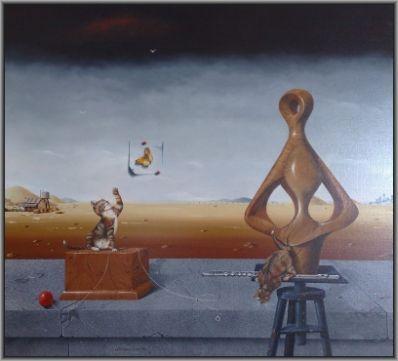 Kunstenaar Wim Mast de Gooijer 2642, Wim Mast de Gooijer  Butterflies are free  olie op doek, 1996, 90 x 100 cm