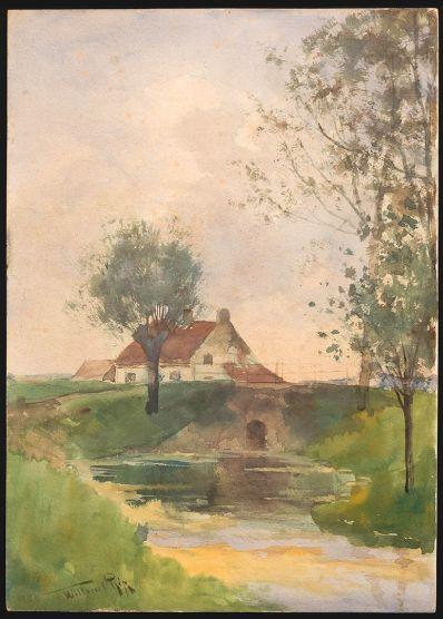 Schilderijen te koop van kunstschilder WC Rip huisje in landschap bij brug en boerensloot. aquarel, linksonder gesigneerd, Expositie Galerie Wijdemeren Breukeleveen