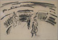 2850 Kees Maks In het theater Houtskool op papier, 32 x 46,5 cm r.o. gesigneerd, te koop bij Galerie Wijdemeren Breukeleveen, schilderijen, expositie