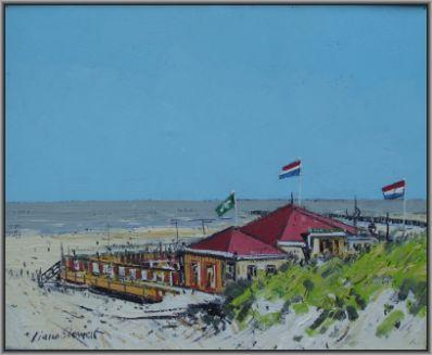 Kunstenaar Ciano Siewert 2866, Ciano Siewert Strandgezicht Olie op doek, beeldmaat: 40 x 50 cm Verkocht