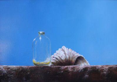 Kunstenaar Loek Meijer 2922, Loek Meijer Stilleven met flesje en schelp Olieverf