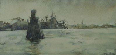 Kunstenaar Jan van Geem 3090, Jan van Geem aquarel, particuliere collectie