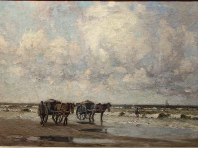 Schilderijen te koop van kunstschilder G.J. Delfgaauw schelpenvissers aan het strand olie op doek, gesigneerd, Expositie Galerie Wijdemeren Breukeleveen