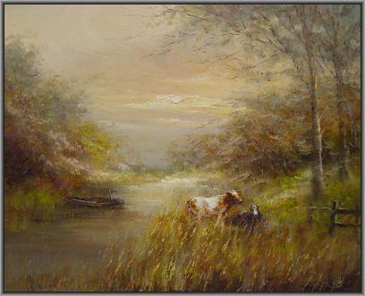 Schilderijen te koop van kunstschilder John Bevort Koeien, Expositie Galerie Wijdemeren Breukeleveen