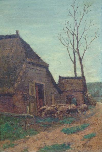 Kunstenaar Andries Verleur 3175 Andries Verleur schapen met herder bij schaapskooi