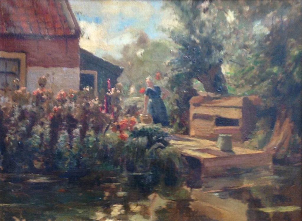 Schilderijen te koop, kunstschilder Willy Fleur boerin in bloementuin olie op doek, doekmaat 30 x 40 cm gesigneerd, expositie Galerie Wijdemeren Breukeleveen