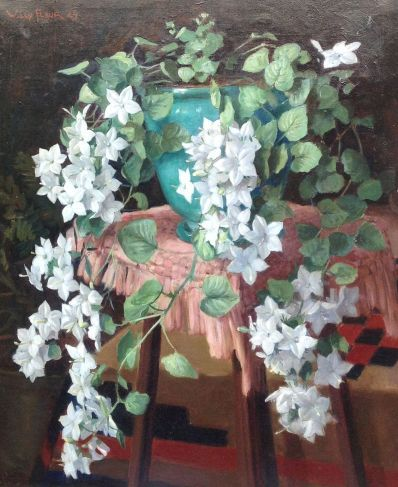 Schilderijen te koop, kunstschilder Willy Fleur bloemstilleven olieverf op doek, doekmaat 60 x 50 cm linksboven gesigneerd en gedateerd '29, expositie Galerie Wijdemeren Breukeleveen