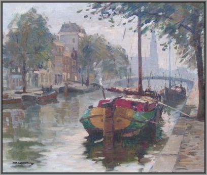 Schilderijen te koop, kunstschilder Jan Korthals Amsterdam, Prinsengracht olie op doek, gesigneerd verkocht, expositie Galerie Wijdemeren Breukeleveen