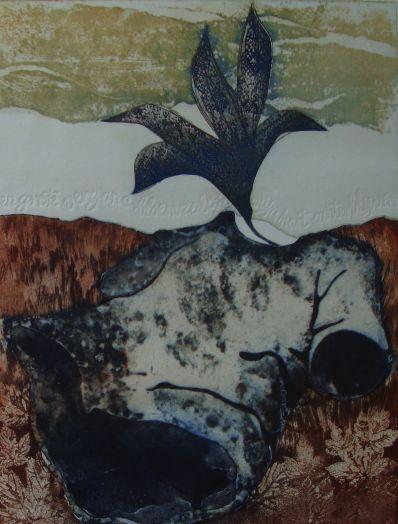 Kunstenaar Emanuel Menan 3572, Manuel Menan abstract, ets particuliere collectie
