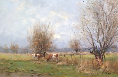 Kunstenaar Frits J. Goosen A3824, Frits Goosen koeien bij Wilp olie op doek, 40 x 60 cm verkocht