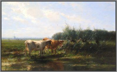 Kunstenaar Cornelis Westerbeek 4137 Cornelis Westerbeek Koeien aan de waterkant olie op doek, 56 x 91 cm, l.o. gesigneerd, in authentiek lijst (Engeland) verkocht
