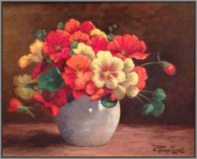 Schilderijen te koop van kunstschilder Cornelis Raaphorst Stilleven met Oost-Indische Kers gesigneerd, Expositie Galerie Wijdemeren Breukeleveen