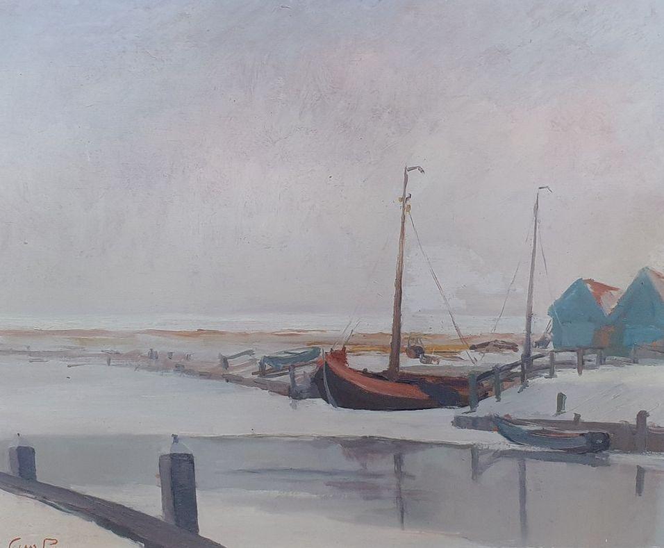 Schilderijen te koop bij Galerie Wijdemeren van kunstschilder Claas Prins Winter aan het IJsselmeer olie op paneel, 40 x 60 cm linksonder gesigneerd