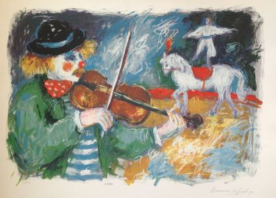 Kunstenaar Annemarie de Groot 4191, Annemarie de Groot zeefdruk r.o. gesigneerd 6/150, circus 1992