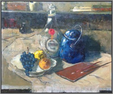 Kunst te koop bij Galerie Wijdemeren van kunstschilder Jan den Hengst Stilleven olie op doek, 50 x 60 cm rechtsonder gesigneerd