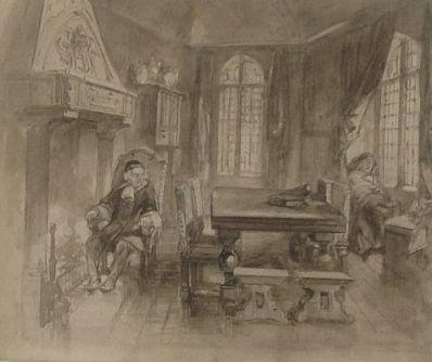 Kunstenaar Henri Rochussen 4329, Henrie Rochussen inkttekening, beeldmaat 15,5 x 18.5 cm