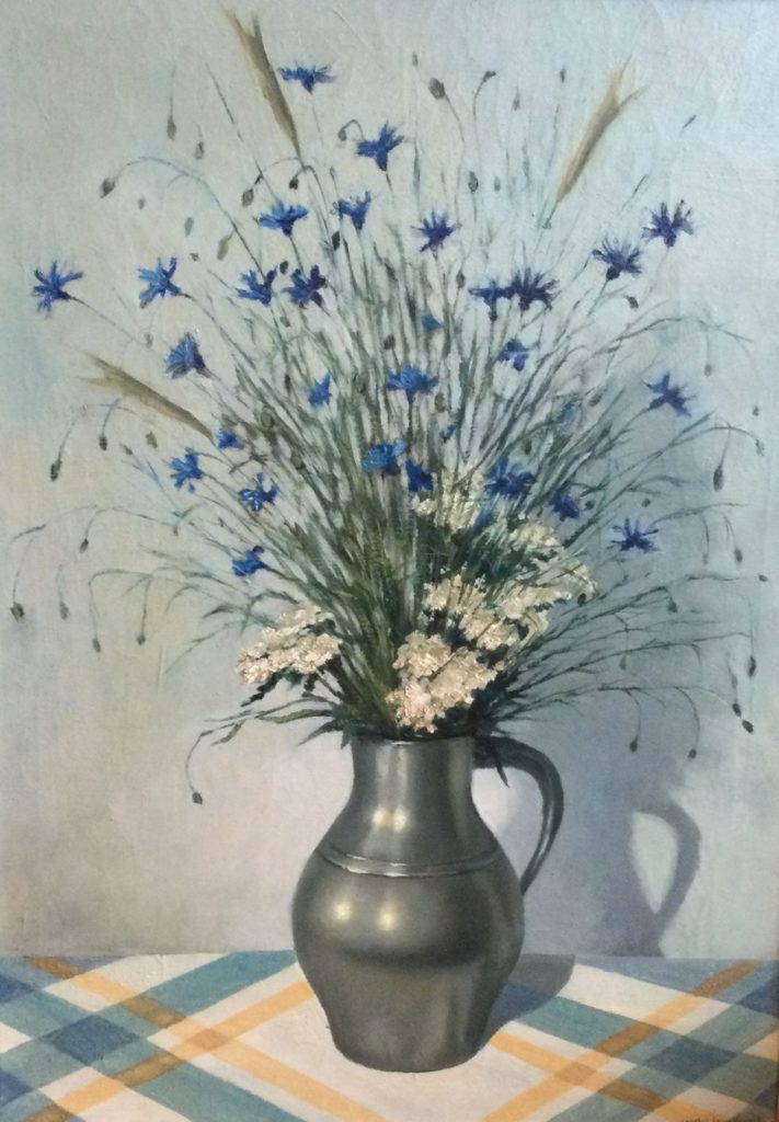 schilderijen te koop van kunstschilder, Charles Louis Vennik Stilleven met bloemen in tinnen kan olie op doek, doekmaat 72 x 51 cm rechtsonder gesigneerd, expositie, galerie wijdemeren breukeleveen