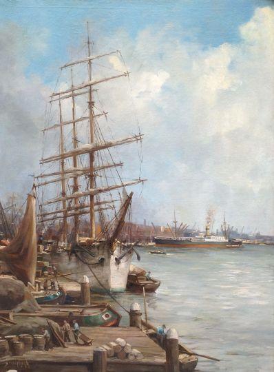 Schilderijen te koop van kunstschilder C.A. Streefkerk Driemaster in haven olie op doek, gesigneerd, Expositie Galerie Wijdemeren Breukeleveen